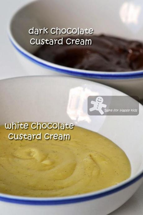 Hokkaido Chocolate Chiffon Cupcakes with Dark and White Chocolate Custard Cream 北海道巧克力牛奶蛋糕