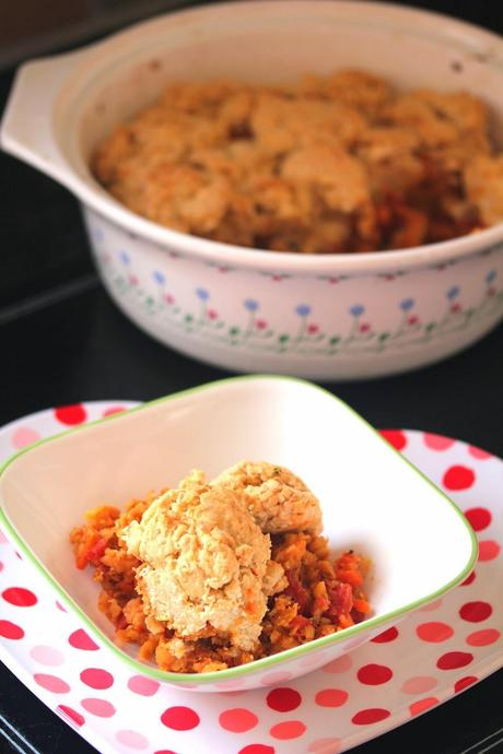 Lentil and Cheeze Biscuit Casserole