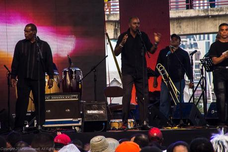 Musicians performing on stage for Carnival partiers