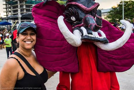 Posing with a carnival devil in Panama
