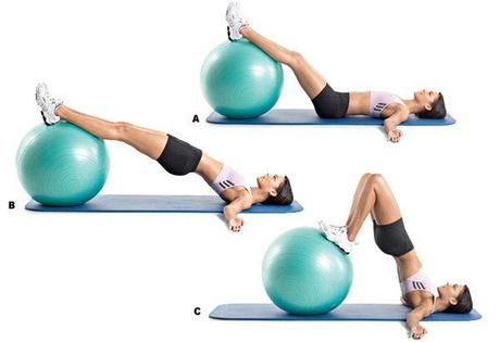 Ball leg curl exercise