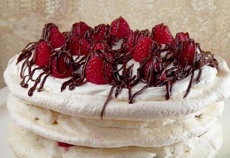 Raspberry Boccone Dolce (Chocolate and Raspberry Pavlova)