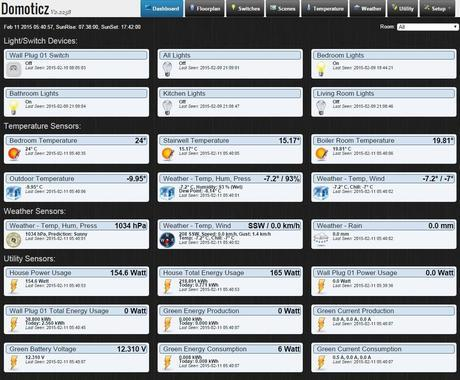 Domoticz dashboard view