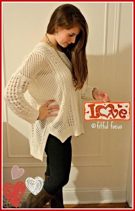 Cozy White Sweater for Valentine's Day Date via Fitful Focus