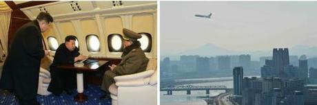 Kim Jong Un discusses the construction of Mirae Scientists Street on his personal plane with Han Kwang Sang (Director of the WPK Finance and Accounting Department) and VMar Hwang Pyong So (Photos: Rodong Sinmun).