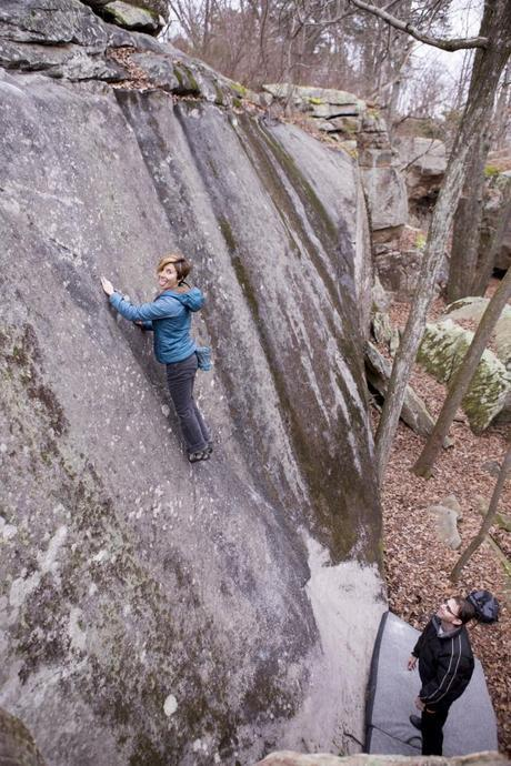 Vikki working on her head game on The Rib, a classic V1 slab with some height.