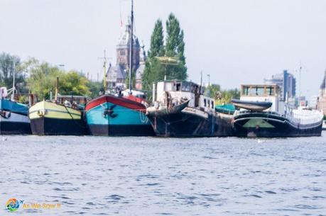 houseboats moored in Amsterdam