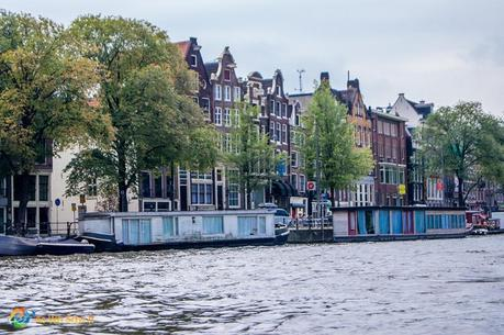 Uneven houses along a canal