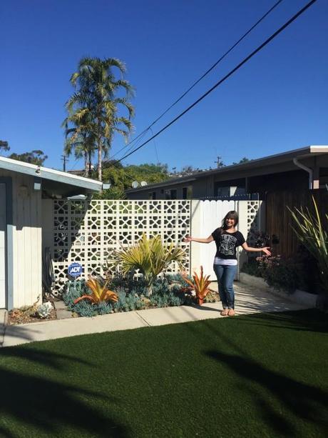 Beach-Duplex-House-1960-Succulents-Planter-Landscaping-Fake-Grass-Turf-Neighborhood