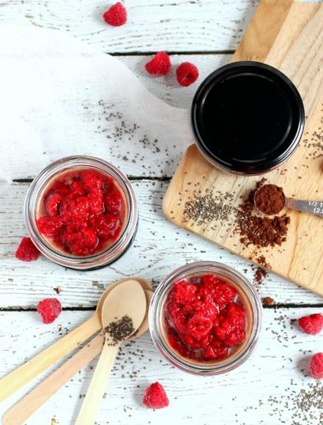Raspberry Chocolate Chia Pudding Pots