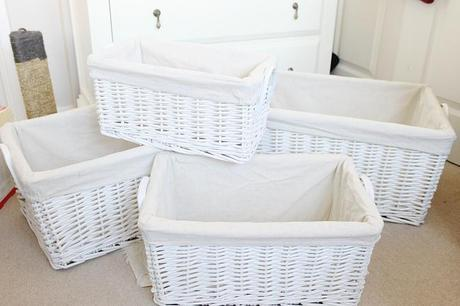 white wicker baskets, willow lined baskets, white baskets, baskets for baby room