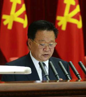 WPK Secretary and WPK Political Bureau Presidium Member Choe Ryong Hae delivers the meeting report (Photo: Rodong Sinmun).