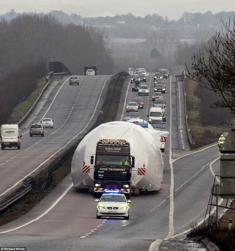 ODC ~ Boeing 747 transported by road  along British motorway