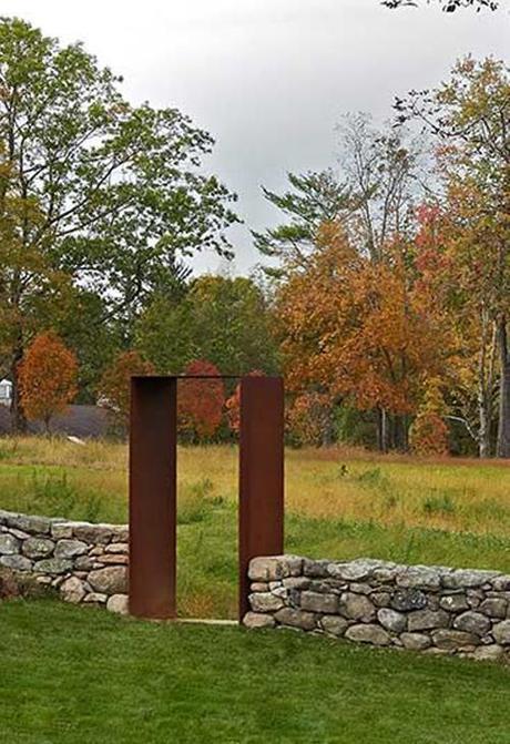 Minimalist Rusted Corten Steel Arch  At Meadow Farm