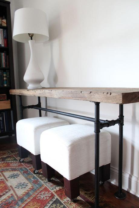 DIY Projects with Pipe! • Great Ideas and Tutorials! Including, from 'handmaid tales', this wonderful black pipe console table.