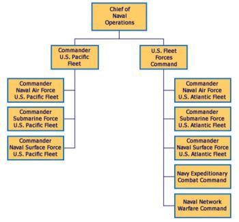 English: Organizational chart of U.S. Navy typ...
