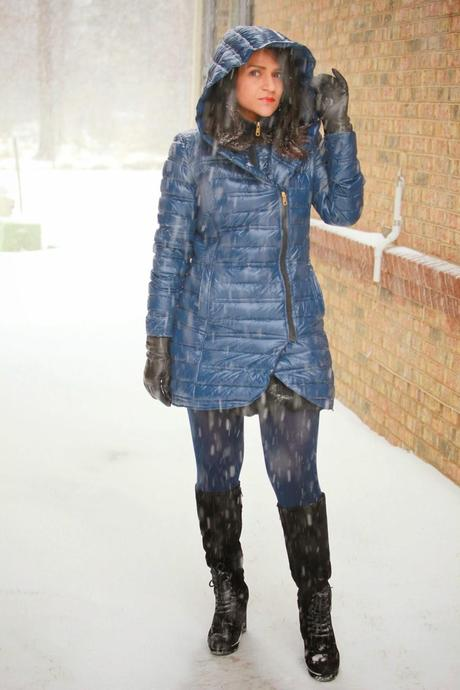Down Jacket, Suede Boots, Snow Day In DC, Tanvii.com