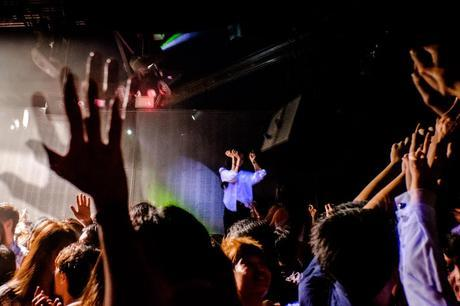 Crowd caught in strobe light in the Phuture club of Zouk