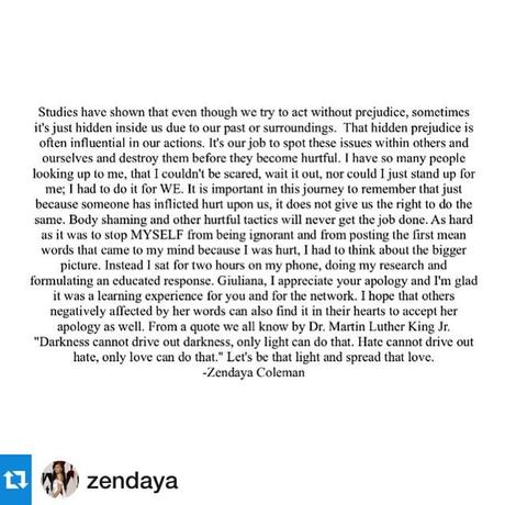 Wow! This girl is just awesome! We adults could learn a lot from the grace, elegance, composure, humility and strength that you exude. You really are a great role model for today's youth! Repost @zendaya