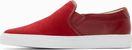 Red On The Horizon:  Common Projects Canvas & Leather Slip-On Sneaker