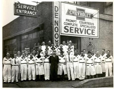 DeNooyer Chevrolet, a small Michigan town car dealership that has been in business since the 30's or so, and I recently learned that my Great Grandfather worked there for 30 some years ago, retired from it in the 1960's