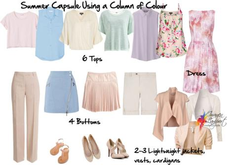 summer capsule wardrobe column of colour