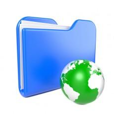 Blue Folder with Green Earth Globe.