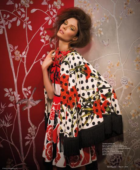 Alexandra Martynova wearing Dolce & Gabbana and Alexander McQueen in Budding Romance @ Benjamin Kanarek