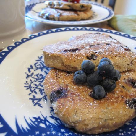 Healthy blueberry bran pancakes