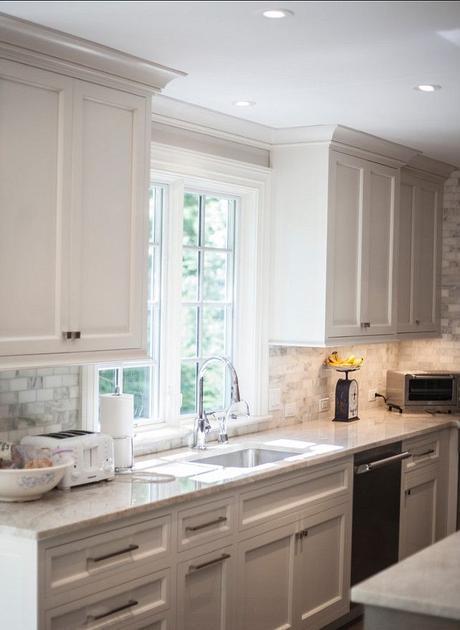 Kitchen. Pale Gray Kitchen. Kitchen with Pale Gray Cabinets. #Kitchen #PaleGrayKitchen Designed by John Johnstone Kitchen & Bath Designers.