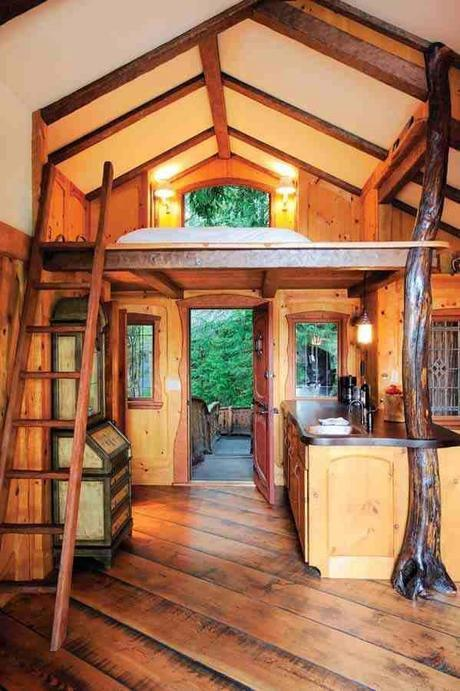 tiny house design inside. Love the two tone wood.