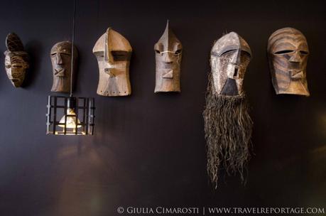 Masks from Mr Hellsten's travels around the world