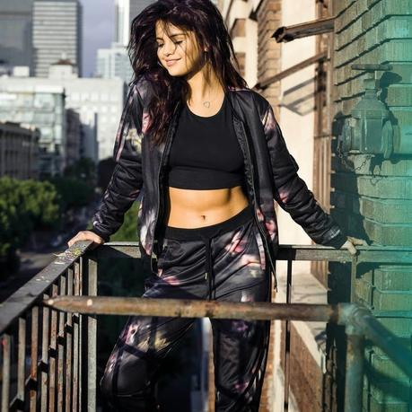 Spring 2015 Trend  Sport Chic - Selena Gomez in bomber jacket and tracks with graphic prints from Adidas NEW Spring 2015 collection
