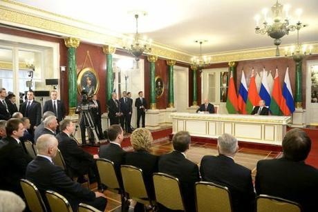 Kremlin press briefing room, presidents Putin and Lukashenko. March 2015.
