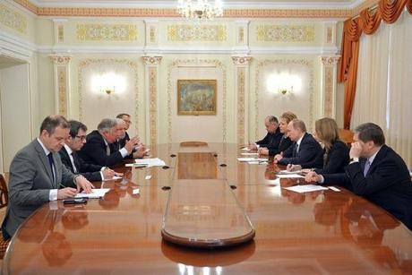 President Putin and Putin French Senate Pres Gerard Larcher, Novo-Ogaryovo, 26 Feb 2015.