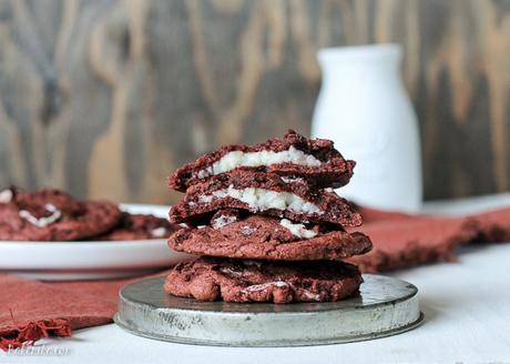 These Red Velvet Oreo Cookies with Cream Cheese are from-scratch red velvet cookies with Red Velvet Oreos and mini chocolate chips folded in. The center has a luscious sweet cream cheese filling. These are some decadent cookies!