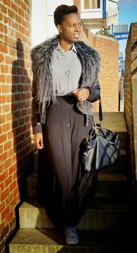 Modest Outfit - Maxi Skirt & Fur