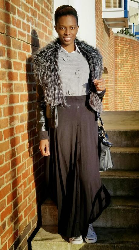 Black Maxi Skirt Grey Bow Jumper & Ostrich Fur Collar