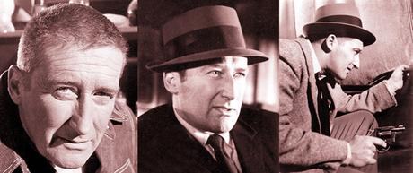 photos of author Mickey Spillane famous for his hardboiled detective novels featuring private eye Mike Hammer with rebus of book titles I The Jury and Kiss Me Deadly