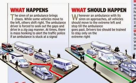 Give way to ambulance - Take left, wait and allow it to pass on !!