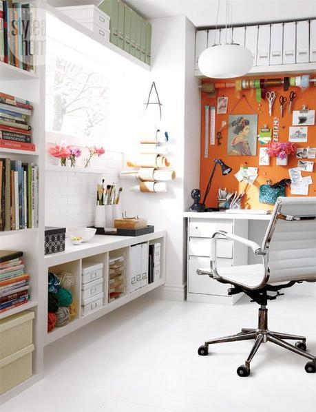 creative workspace home office. Fantastic way to organize and make lots of room in a very small or cramped room. Use vertical space for organization, filing, and storage.