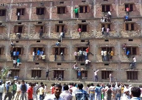 Bihar hour of shame ~ mass cheating help by parents