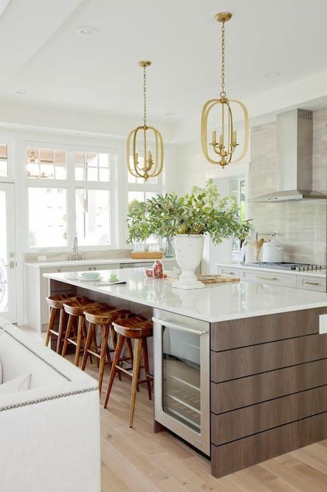 Home | Jillian Harris, light gray cabinet, faux tile wood floors, gray and pink bathroom, pink and grey bathroom