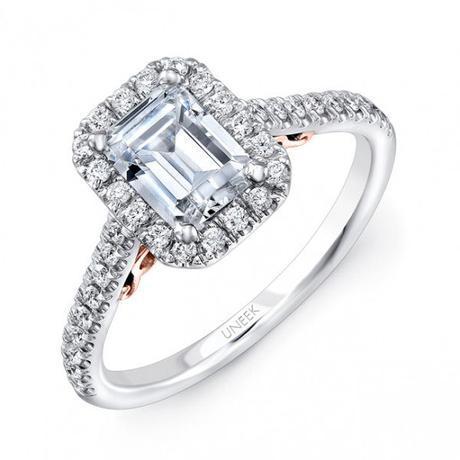 Uneek 14k White & Rose Gold .45ctw Emerald Halo Ring