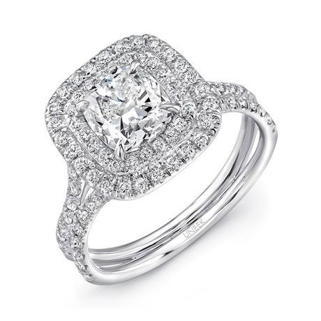 Uneek LVS914 0.65ctw Double Cushion Halo Engagement Ring Semi Mounting