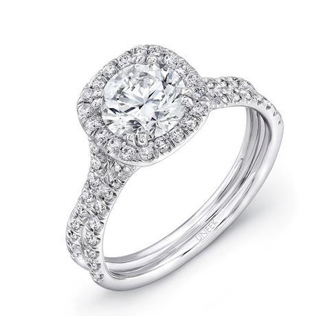 Uneek LVS898 0.58ctw Diamond Cushion Halo Engagement Ring Semi Mount
