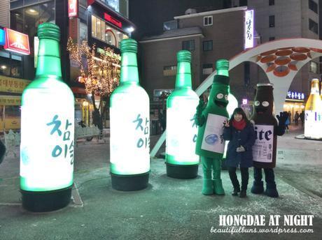 Hongdae night time soju bottles