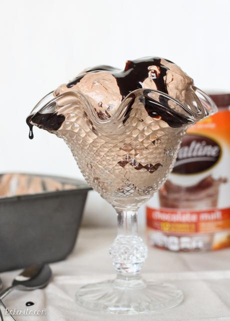 This Chocolate Malt Mocha Crunch Ice Cream is a luscious chocolate ice cream flavored with chocolate malt and coffee, with crunchy malt balls and a chocolate ganache swirl! No ice cream machine required