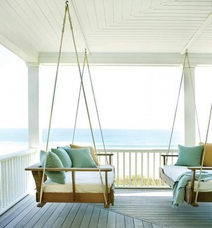 beach porch with swinging porch beds