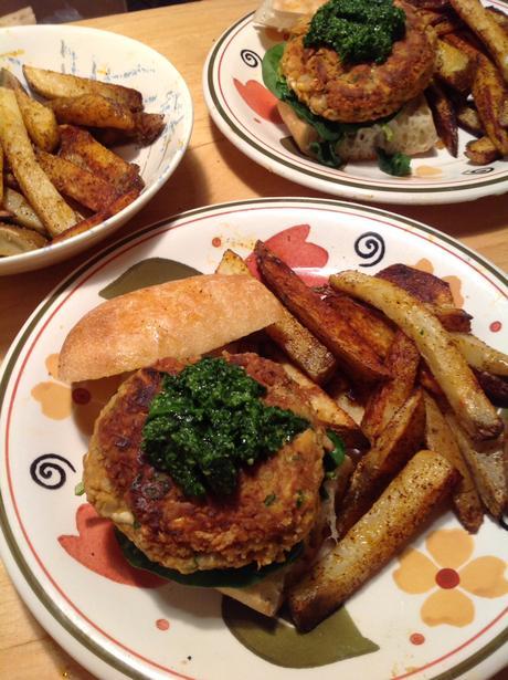 Vegan Mozzarella-Stuffed Cannellini Burgers with Spinach Pesto ...